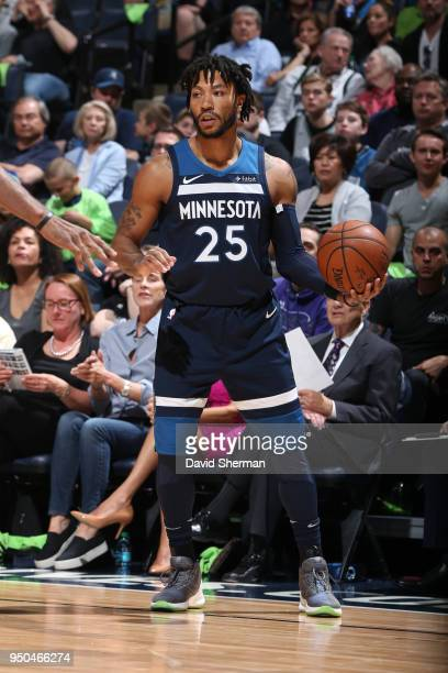 Derrick Rose of the Minnesota Timberwolves handles the ball against the Houston Rockets in Game Four of Round One of the 2018 NBA Playoffs on April...