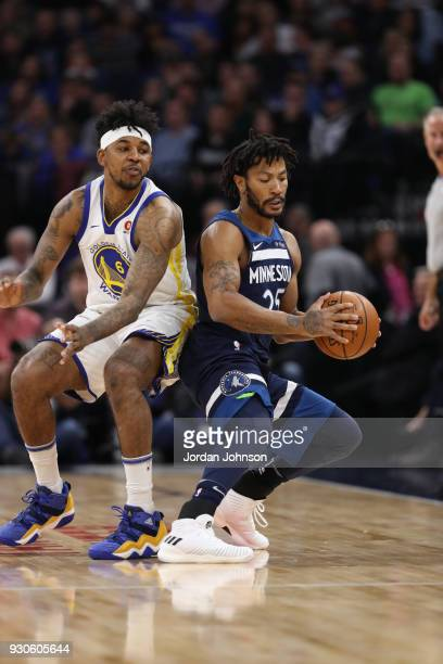 Derrick Rose of the Minnesota Timberwolves handles the ball during the game against the Golden State Warriors on March 11 2018 at Target Center in...