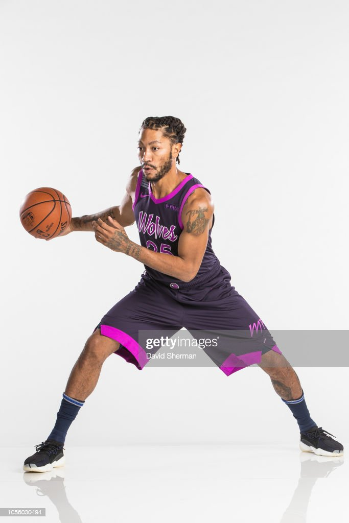 914daf6cb Derrick Rose of the Minnesota Timberwolves poses for a portrait in ...