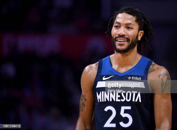 Derrick Rose of the Minnesota Timberwolves reacts during a 120109 LA Clipper win at Staples Center on November 5 2018 in Los Angeles California