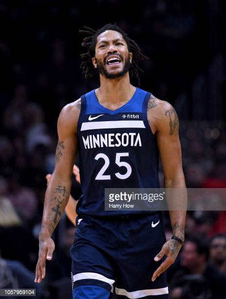 Derrick Rose of the Minnesota Timberwolves reacts to his foul during a 120-109 LA Clippers win at Staples Center on November 5, 2018 in Los Angeles,...