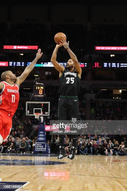 Derrick Rose of the Minnesota Timberwolves shoots the ball against the Houston Rockets on December 3 2017 at Target Center in Minneapolis Minnesota...