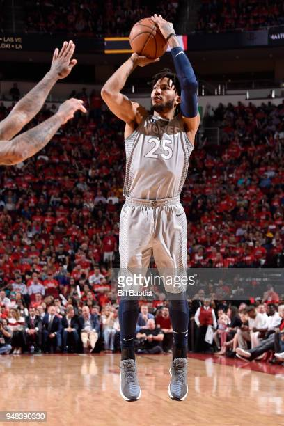 Derrick Rose of the Minnesota Timberwolves shoots the ball against the Houston Rockets during Game Two of Round One of the 2018 NBA Playoffs on April...