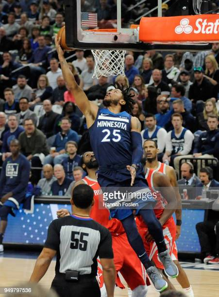 Derrick Rose of the Minnesota Timberwolves shoots the ball against against the Houston Rockets during the second quarter in Game Three of Round One...