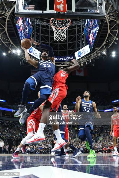 Derrick Rose of the Minnesota Timberwolves shoots the ball against the Houston Rockets in Game Three of Round One of the 2018 NBA Playoffs on April...
