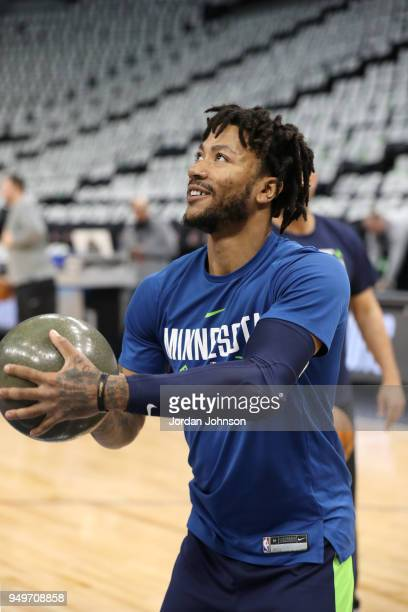 Derrick Rose of the Minnesota Timberwolves shoots the ball before the game against the Houston Rockets in Game Three of Round One of the 2018 NBA...