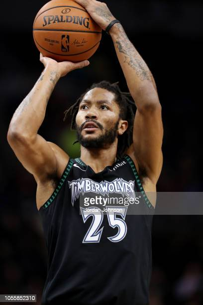 Derrick Rose of the Minnesota Timberwolves shoots the ball during the game  against the Utah Jazz c594f6e2c