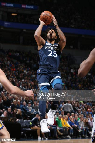 Derrick Rose of the Minnesota Timberwolves shoots the ball during the game against the Golden State Warriors on March 11 2018 at Target Center in...
