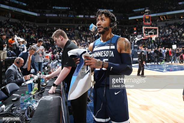 Derrick Rose of the Minnesota Timberwolves talks to the media following Game Three of Round One of the 2018 NBA Playoffs against the Houston Rockets...