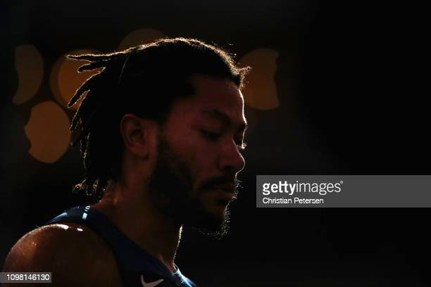Derrick Rose of the Minnesota Timberwolves walks on the court during a break from the first half of the NBA game against the Phoenix Suns at Talking...