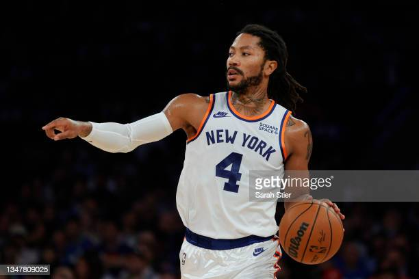 Derrick Rose of the New York Knicks dribbles during the first half against the Boston Celtics at Madison Square Garden on October 20, 2021 in New...