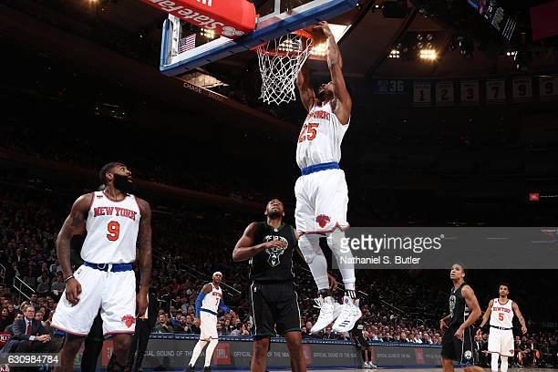 Derrick Rose of the New York Knicks dunks against the Milwaukee Bucks on January 4 2017 at Madison Square Garden in New York NY NOTE TO USER User...