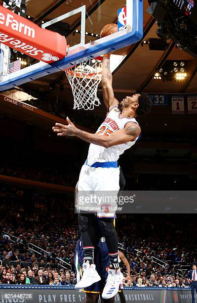 Derrick Rose of the New York Knicks dunks against the Utah Jazz during the game on November 6 2016 at Madison Square Garden in New York City New York...