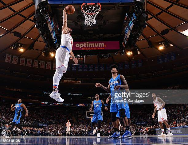 Derrick Rose of the New York Knicks dunks the ball against the Orlando Magic at Madison Square Garden on January 2 2017 in New YorkNew York NOTE TO...
