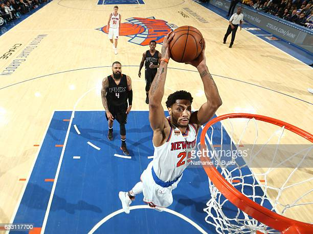 Derrick Rose of the New York Knicks goes for the dunk during the game against the Phoenix Suns on January 21 2017 at Madison Square Garden in New...