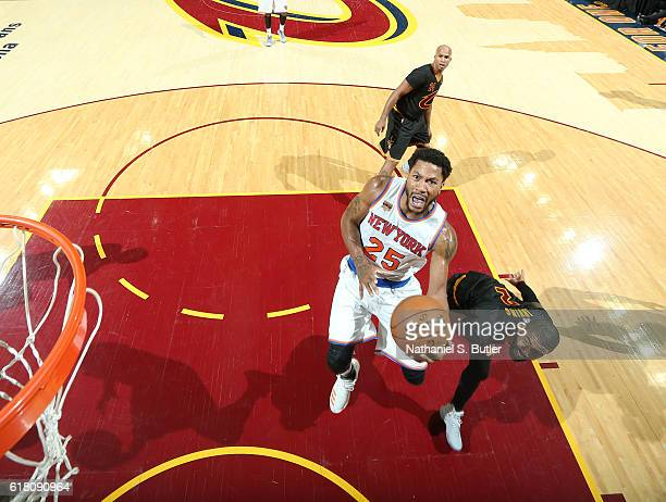 Derrick Rose of the New York Knicks goes to the basket against the Cleveland Cavaliers during a game on October 25 2016 at Quicken Loans Arena in...