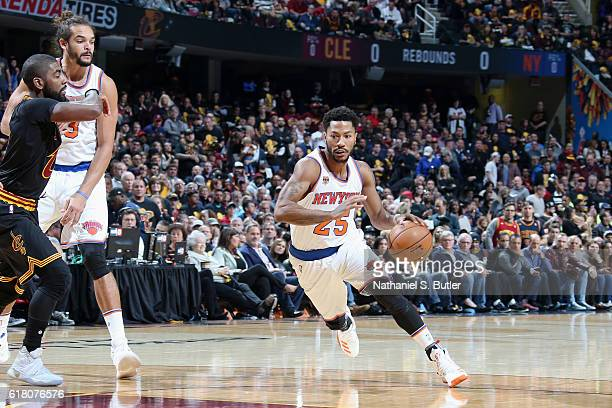 Derrick Rose of the New York Knicks handles the ball against the Cleveland Cavaliers during a game on October 25 2016 at Quicken Loans Arena in...