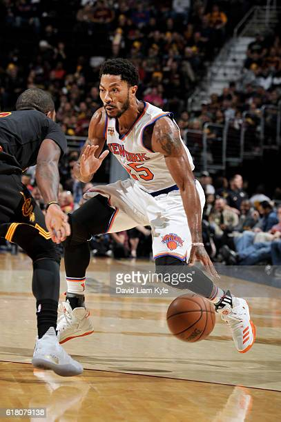 Derrick Rose of the New York Knicks handles the ball against the Cleveland Cavaliers on October 25 2016 at Quicken Loans Arena in Cleveland Ohio NOTE...