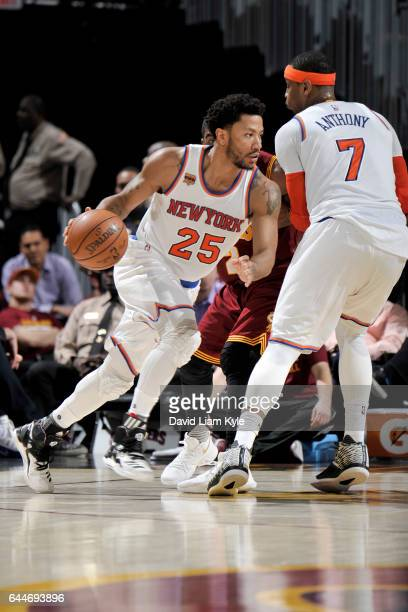 Derrick Rose of the New York Knicks handles the ball against the Cleveland Cavaliers on February 23 2017 at Quicken Loans Arena in Cleveland Ohio...