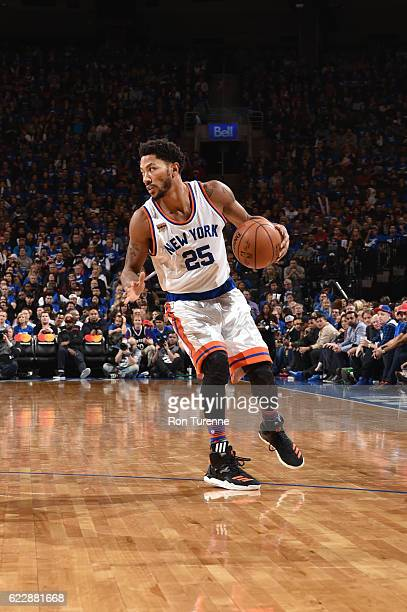 Derrick Rose of the New York Knicks handles the ball during a game against the Toronto Raptors on November 12 2016 at the Air Canada Centre in...