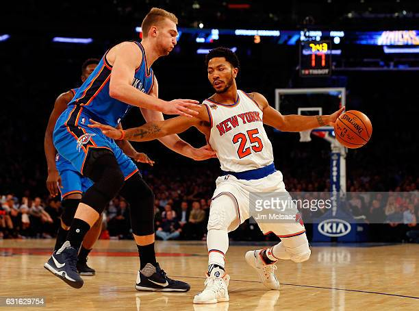 cbb28c5bf5f3 Derrick Rose of the New York Knicks in action against Domantas Sabonis of  the Oklahoma City