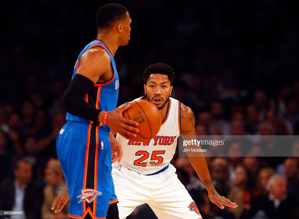 b3b7fa54198e Derrick Rose of the New York Knicks in action against the Oklahoma ...