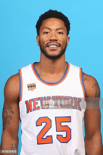 Derrick Rose of the New York Knicks poses for a head shot during media day at the Ritz Carlton in White Plains New York on September 26 2016 NOTE TO...