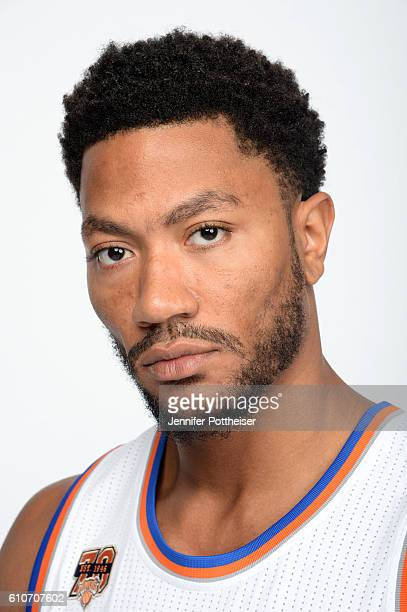 Derrick Rose of the New York Knicks poses for a portrait during media day at the Ritz Carlton in White Plains New York on September 26 2016 NOTE TO...