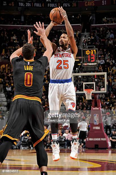 Derrick Rose of the New York Knicks shoots the ball against the Cleveland Cavaliers on October 25 2016 at Quicken Loans Arena in Cleveland Ohio NOTE...