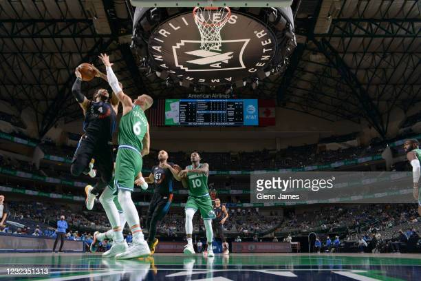 Derrick Rose of the New York Knicks shoots the ball during the game against the Dallas Mavericks on April 16, 2021 at the American Airlines Center in...