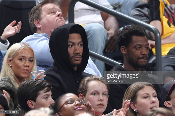 Derrick Rose of the New York Knicks take in the game of the Memphis Grizzlies against the San Antonio Spurs in Game Four of the Eastern Conference...