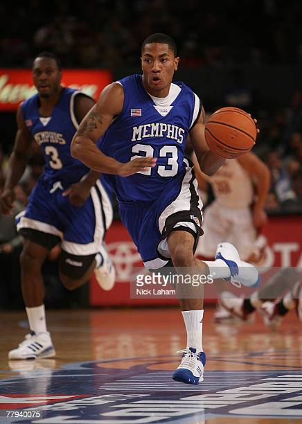 Derrick Rose of the University of Memphis Tigers drives against the Oklahoma Sooners during the College Hoops Classic tournament at Madison Square...