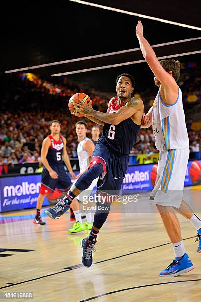 Derrick Rose of the USA Basketball Men's National Team drives to the basket against of the Ukraine Basketball Team during the FIBA 2014 World Cup...