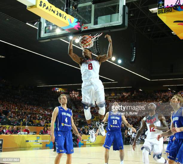 Derrick Rose of the USA Basketball Men's National Team dunks during a game against the Finland Basketball Men's National Team during the 2014 FIBA...