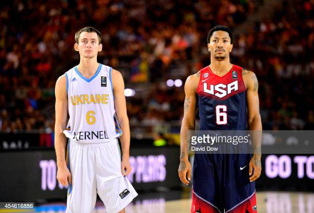 Derrick Rose of the USA Basketball Men's National Team looks on during the game against the Ukraine Basketball Team during the FIBA 2014 World Cup...