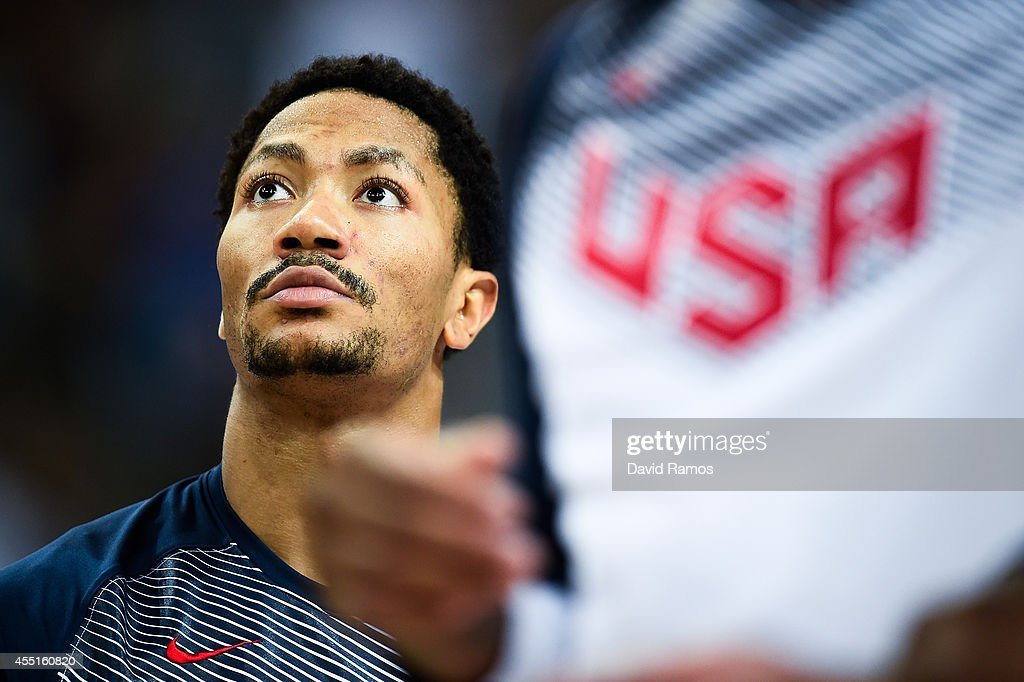 Derrick Rose #6 of the USA Basketball Men's National Team looks on during the warm up prior to the 2014 FIBA Basketball World Cup quarter-final match between Slovenia and USA at Palau Sant Jordi on September 9, 2014 in Barcelona, Spain.