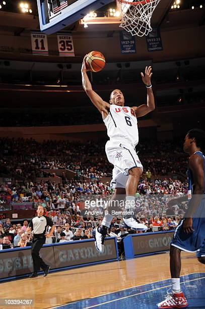 Derrick Rose of the USA Men's National Team dunks against France on August 15 2010 at Madison Square Garden in New York City NOTE TO USER User...