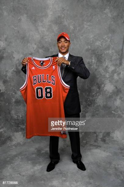 Derrick Rose selected number one overall by the Chicago Bulls poses for a portrait backstage during the 2008 NBA Draft on June 26, 2008 at the WaMu...