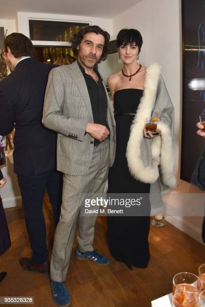 Derrick Santini and Eliza Cummings attend an exclusive dinner celebrating Derrick Santini's exhibition Float Fly curated by Mark Broadbent of 'Bread...