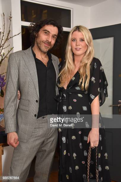 Derrick Santini and Gracie Egan attend an exclusive dinner celebrating Derrick Santini's exhibition 'Float Fly' curated by Mark Broadbent of 'Bread...