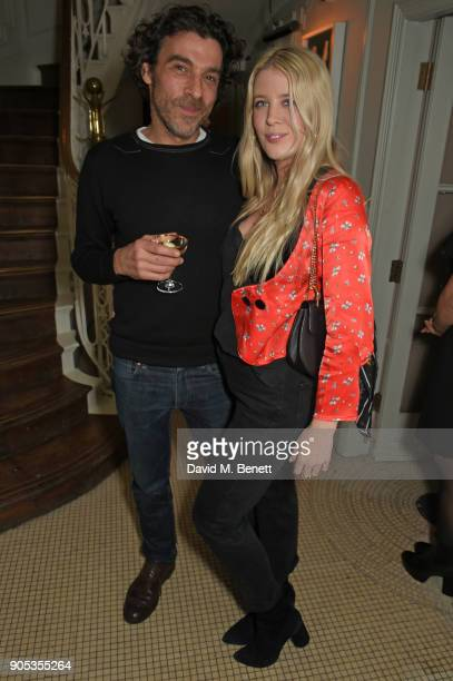 Derrick Santini and Gracie Egan attend Kettner's Townhouse preopening dinner hosted by Fawn and India Rose James on January 15 2018 in London England