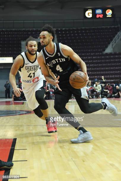Derrick White of the Austin Spurs drives to the basket against Kaza Keane of the Raptors 905 during Round Two of the NBA GLeague playoffs on April 10...