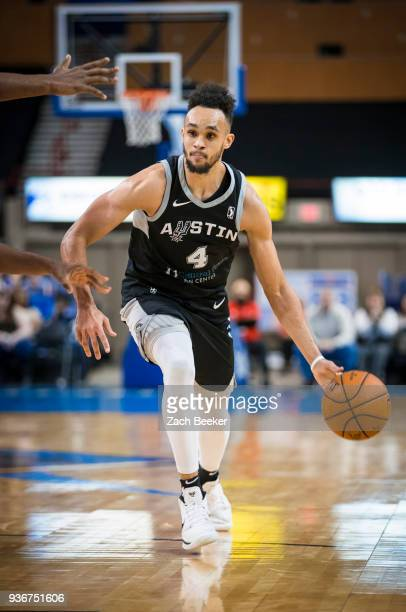 Derrick White of the Austin Spurs handles the ball against the Oklahoma City Blue on March 22 2018 at the Cox Convention Center Arena in Oklahoma...