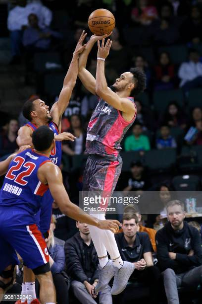 Derrick White of the Austin Spurs shoots the ball against the Grand Rapids Drive at the HEB Center at Cedar Park on January 20 2018 in Cedar Park...