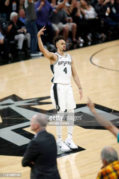 Derrick White of the San Antonio Spurs celebrates after his basket against the Denver Nuggets during Game Three of the first round of the 2019 NBA...