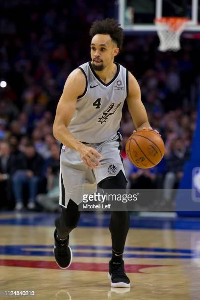 Derrick White of the San Antonio Spurs dribbles the ball against the Philadelphia 76ers at the Wells Fargo Center on January 23 2019 in Philadelphia...