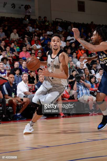Derrick White of the San Antonio Spurs dribbles the ball against the New Orleans Pelicans during the 2017 Las Vegas Summer League game on July 13...