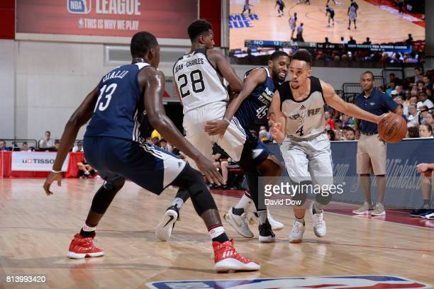 Derrick White of the San Antonio Spurs dribbles the ball around a screen against the New Orleans Pelicans during the 2017 Las Vegas Summer League...