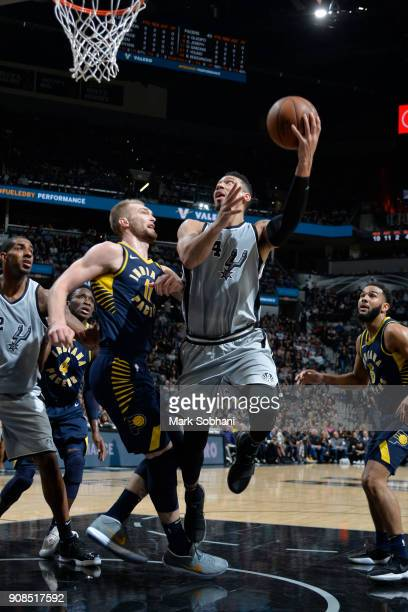 Derrick White of the San Antonio Spurs drives to the basket during the game against the Indiana Pacers on January 21 2018 at the ATT Center in San...