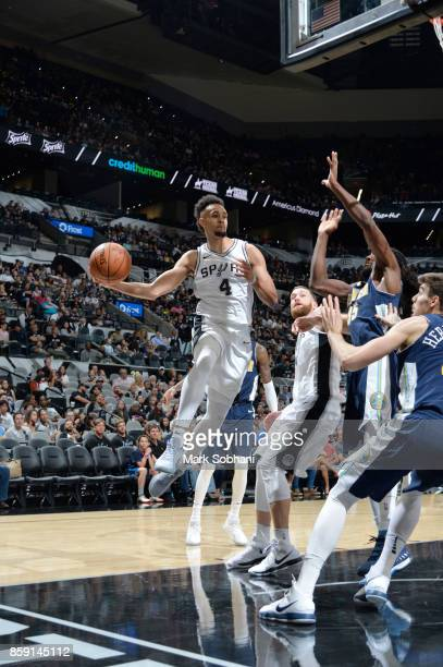 Derrick White of the San Antonio Spurs goes for a lay up against the Denver Nuggets during the preseason game on October 8 2017 at the ATT Center in...